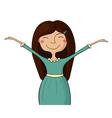 Happy girl hands up vector image