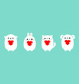 happy valentines day white cat kitten bear dog vector image vector image