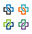 health care cross infinity line logo template vector image vector image