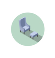 isometric blue vintage armchair 3d flat interior vector image vector image