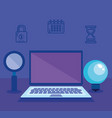 laptop with social media marketing icons vector image vector image