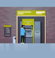 man withdrawing cash via atm automatic teller vector image vector image