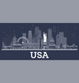 outline usa city skyline with white buildings vector image vector image