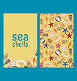 sea shells flyers or brochures vector image vector image
