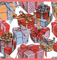 seamless background of the various gifts boxes vector image