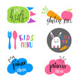set of kids menu logos for cafe or restaurant vector image vector image