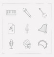 set of melody icons line style symbols with music vector image