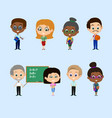 set of teachers vector image