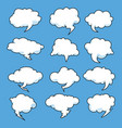 set speech bubble clouds isolated on blue sky vector image