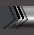 silver black arrow direction on dark grey blank vector image vector image