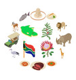 south africa travel icons set isometric style vector image vector image