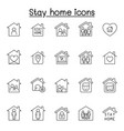 stay home icons set in thin line style vector image vector image