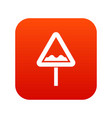 uneven triangular road sign icon digital red vector image vector image