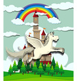 Unicorn flying over the castle vector image vector image