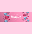 valentines day 3d pink and blue heart web banner vector image vector image