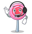 with headphone cute lollipop character cartoon vector image vector image