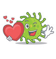 with heart green bacteria mascot cartoon vector image vector image