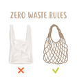 zero waste rules disposable package vs reusable vector image vector image