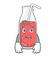 afraid strawberry smoothie mascot cartoon vector image