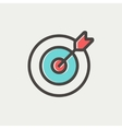 Arrow hit the target thin line icon vector image vector image