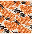 black and orange rowanberry seamless pattern vector image