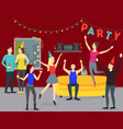 cartoon happy people in party at home concept vector image vector image