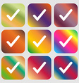 Check mark tik icon Nine buttons with bright vector image vector image