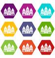 children house castle icon set color hexahedron vector image vector image