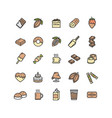 chocolate sign color thin line icon set vector image vector image