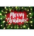 Christmas card pine wreath and holiday greetings vector image