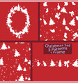 christmas winter set of 1 frame and 3 seamless vector image vector image