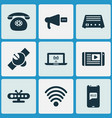 communication icons set with satellite greeting vector image