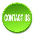 contact us green round flat isolated push button vector image vector image