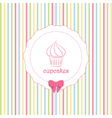 cupcake and striped background vector image vector image