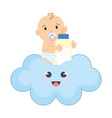 cute and little boy baby with milk bottle vector image