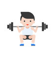 cute character weightlifter athlete with barbell vector image