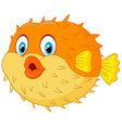 Cute puffer fish cartoon vector image