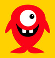 cute red monster icon happy halloween cartoon vector image