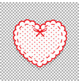 cute white lacy heart with red polka dots pattern vector image