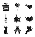 delightful icons set simple style vector image