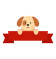 dog on red banner icon flat style vector image vector image
