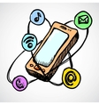 Doodle smartphone concept vector image