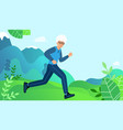 elderly woman is engaged in sports jogging vector image vector image