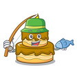 fishing birthday cake mascot cartoon vector image vector image