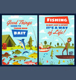 fishing leisure adventure fisher catch lake fish vector image vector image