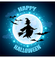 Flying witch on moon background Halloween concept vector image vector image