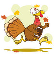 football turkey bird cartoon character running vector image vector image