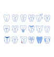 funny teeth characters with different emotions set vector image