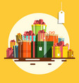 gift box flat design present boxes heap on retro vector image vector image