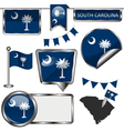 Glossy icons with South Carolinian flag vector image vector image